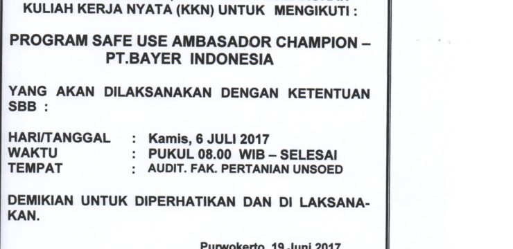 UNDANGAN SOSIALISASI PROGRAM SAFE USE AMBASADOR CHAMPION-PT.BAYER INDONESIA