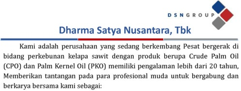 OPEN RECRUITMENT DHARMA SATYA NUSANTARA, Tbk